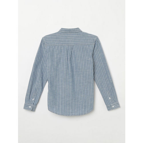 Fame Forever by Lifestyle Boys Blue & White Slim Fit Striped Casual Shirt
