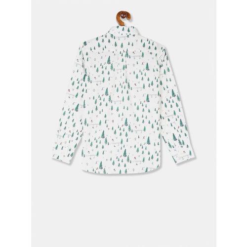 GAP Boys White Poplin Printed Shirt