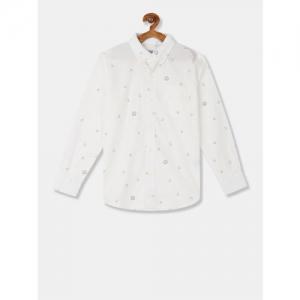 GAP Boys White Yarn Dye Smiley Print Poplin Shirt