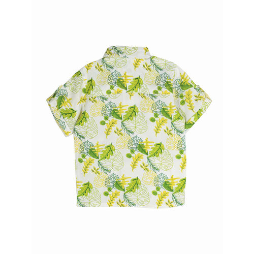 My Little Lambs Boys Off-White & Green Regular Fit Printed Casual Shirt