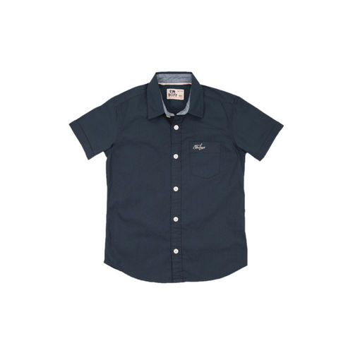 Flying Machine Boys Blue Regular Fit Solid Casual Shirt