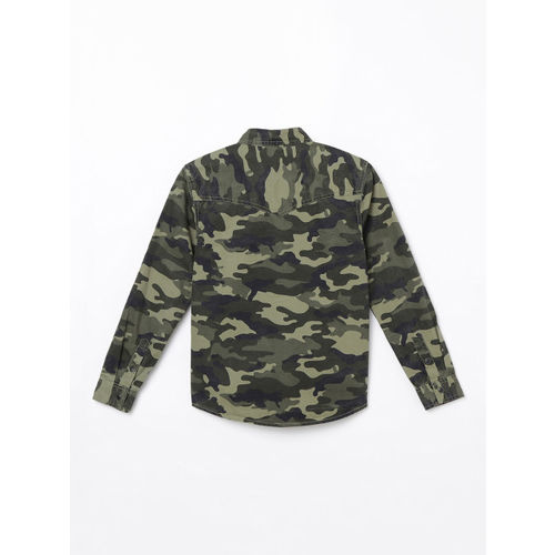 Bossini Boys Olive Green Regular Fit Camouflage Printed Casual Shirt