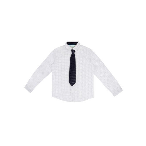 Pantaloons Junior Boys White Regular Fit Printed Party Shirt with Tie