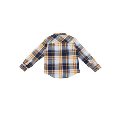 Pantaloons Junior Boys White & Navy Blue Regular Fit Checked Casual Shirt