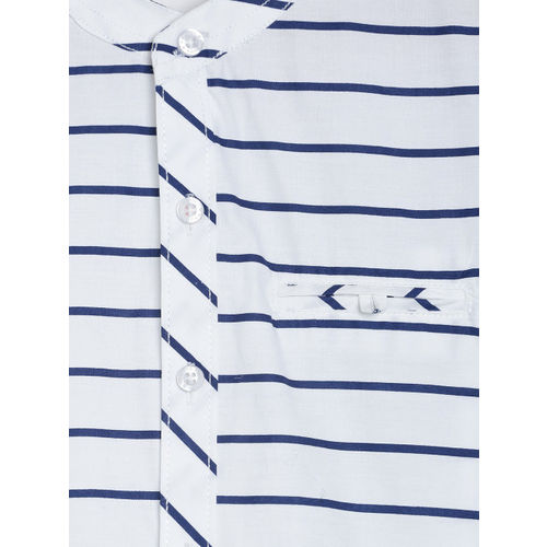 RIKIDOOS Boys White & Navy Blue Striped Regular Fit Casual Shirt