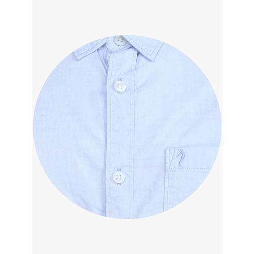 Indian Terrain Boys Blue Regular Fit Solid Casual Shirt