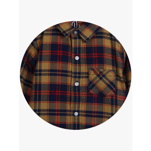 Gini and Jony Boys Khaki & Navy Blue Regular Fit Checked Casual Shirt