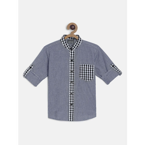 RIKIDOOS Boys Black & White Checked Regular Fit Casual Shirt