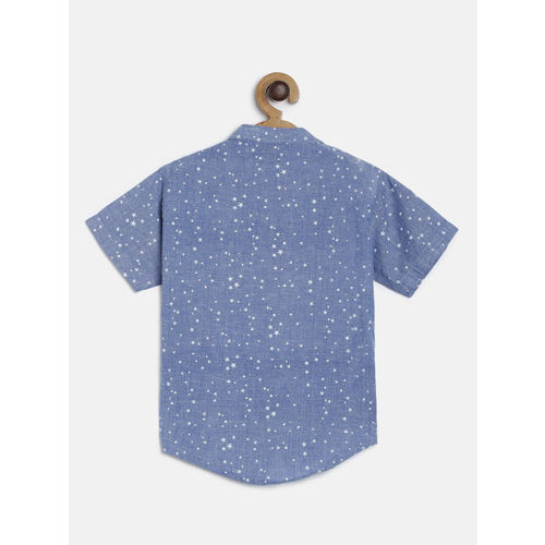 RIKIDOOS Boys Blue Printed Regular Fit Casual Shirt