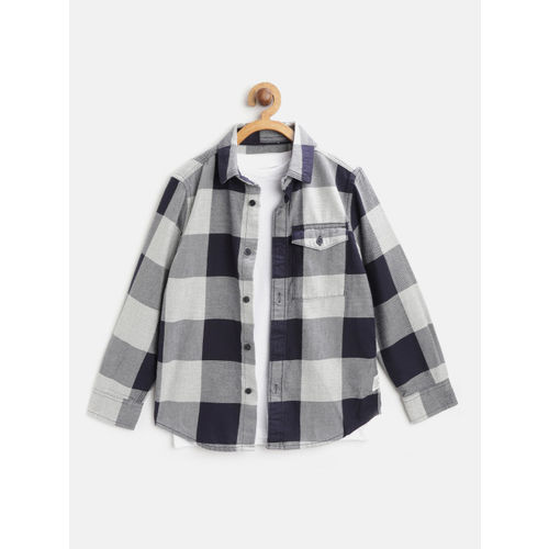 Marks & Spencer Boys Navy Blue & Grey Regular Fit Checked Casual Shirt with T-Shirt