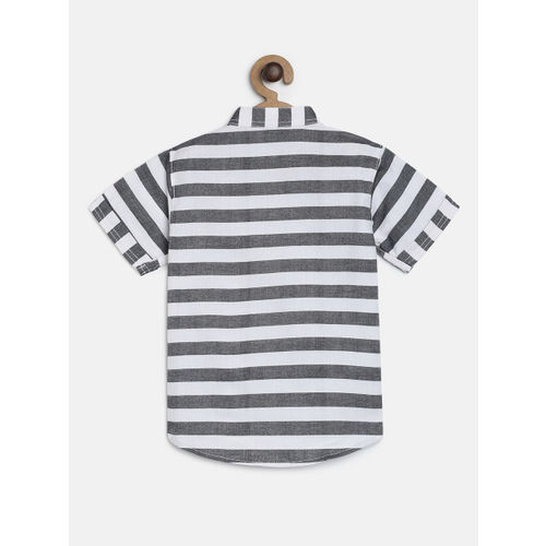RIKIDOOS Boys Grey & White Striped Regular Fit Casual Shirt