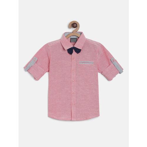 RIKIDOOS Boys Red Regular Fit Solid Casual Shirt