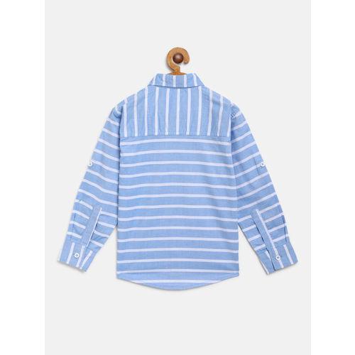 612 league Boys Blue & White Regular Fit Striped Casual Shirt