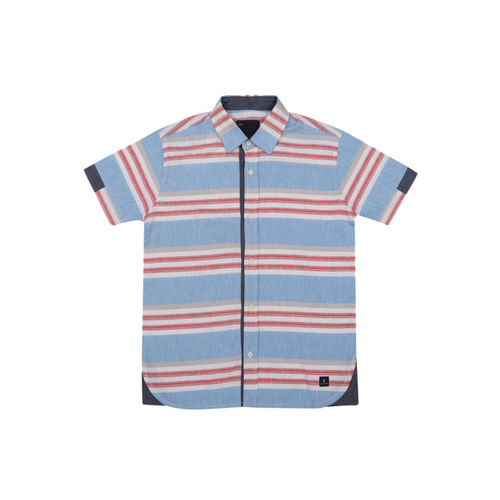 Lil Tomatoes Boys Blue & Red Striped Casual Shirt