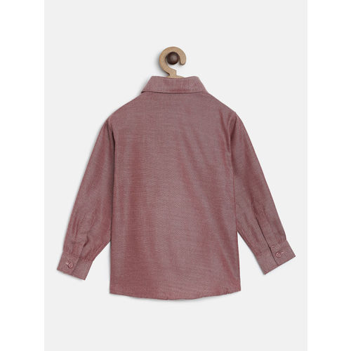 RIKIDOOS Boys Maroon Solid Regular Fit Casual Shirt
