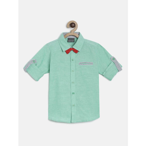 RIKIDOOS Boys Green Regular Fit Solid Casual Shirt