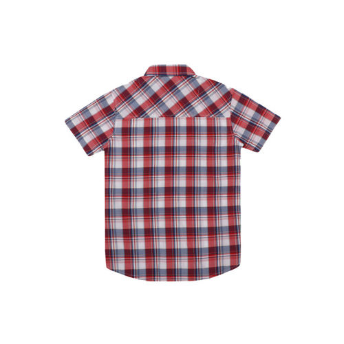 Lil Tomatoes Boys Maroon Regular Fit Checked Casual Shirt