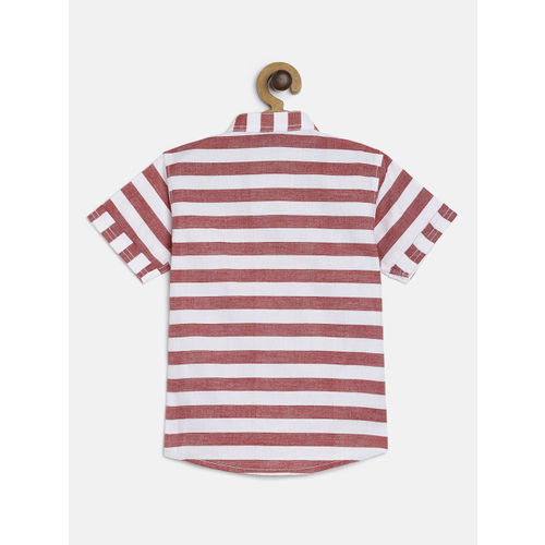 RIKIDOOS Boys Maroon & Off-White Striped Regular Fit Casual Shirt