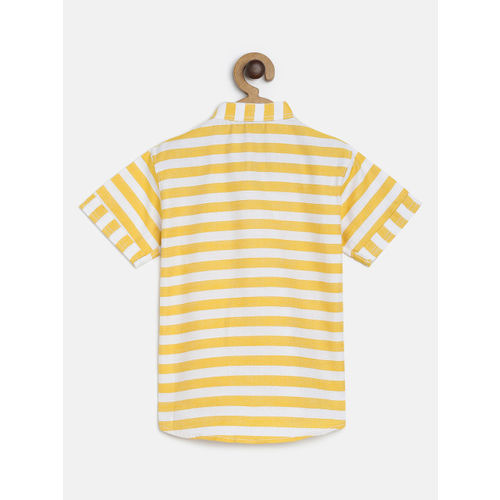 RIKIDOOS Boys Yellow & White Striped Regular Fit Casual Shirt