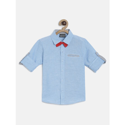 RIKIDOOS Boys Blue Regular Fit Solid Casual Shirt