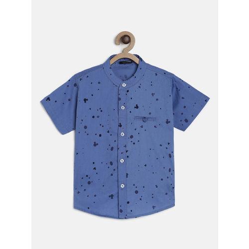 RIKIDOOS Boys Blue Regular Fit Printed Casual Shirt