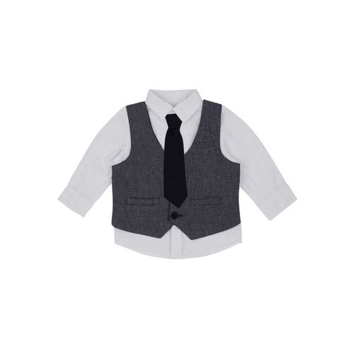 Pantaloons Baby Boys White Regular Fit Solid Party Shirt With Waistcoat & Tie