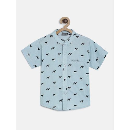 RIKIDOOS Boys Blue Printed Regular Fit Casual Shirt