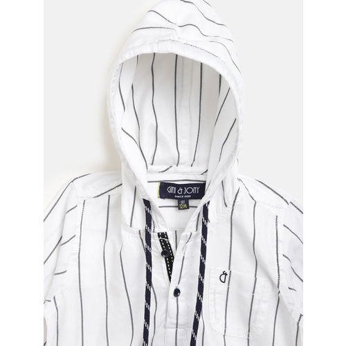 Gini and Jony Boys White & Black Regular Fit Hooded Striped Casual Shirt