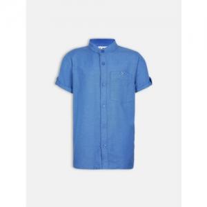 Oxolloxo Boys Blue Comfort Regular Fit Self Design Casual Shirt