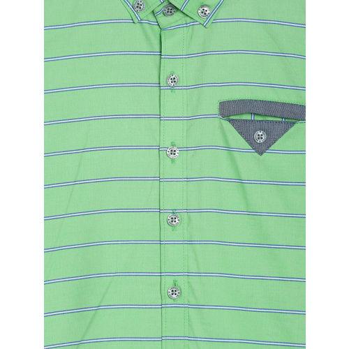RIKIDOOS Boys Green Regular Fit Striped Casual Shirt