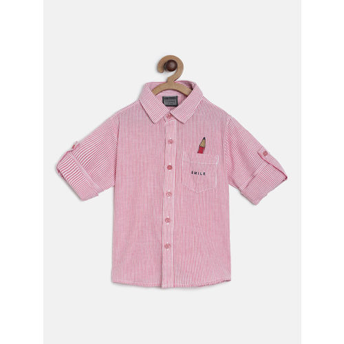 RIKIDOOS Boys Red & White Striped Regular Fit Casual Shirt