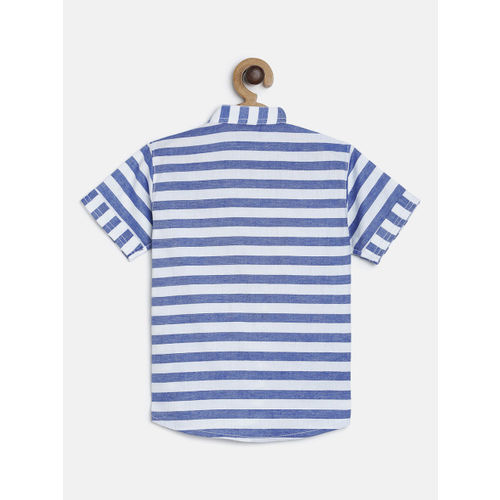RIKIDOOS Boys Blue & White Striped Regular Fit Casual Shirt