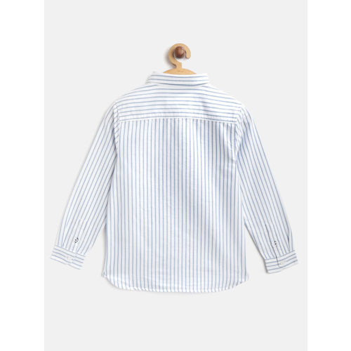 Marks & Spencer Boys White & Blue Striped Regular Fit Casual Shirt