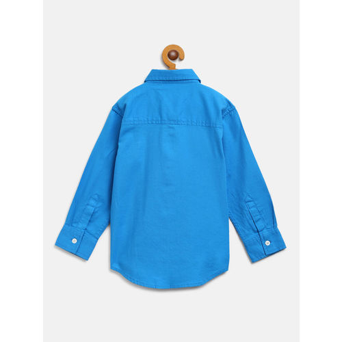 Gini and Jony Boys Blue Regular Fit Solid Casual Shirt