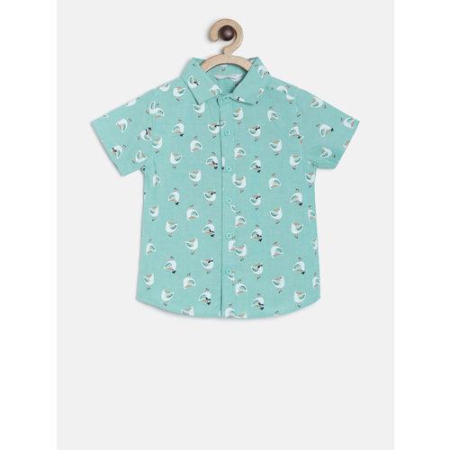 MINI KLUB Boys Green & White Regular Fit Printed Casual Shirt