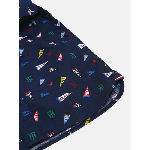 Tommy Hilfiger Boys Navy Blue Regular Fit Printed Casual Shirt