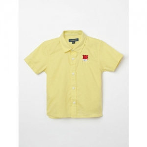 Juniors by Lifestyle Boys Yellow Slim Fit Solid Casual Shirt