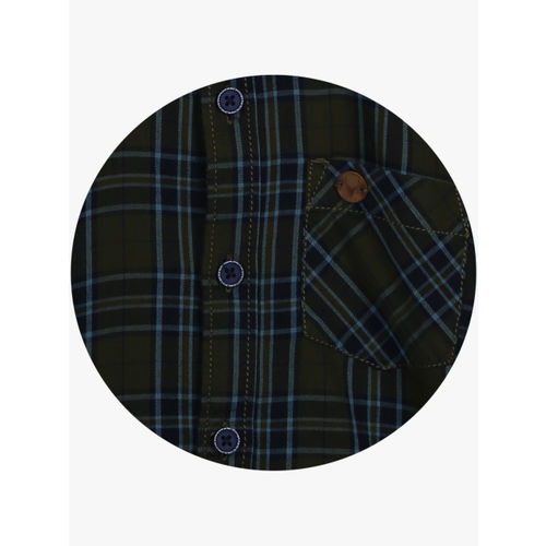 Allen Solly Junior Boys Olive Green & Navy Blue Slim Fit Checked Casual Shirt
