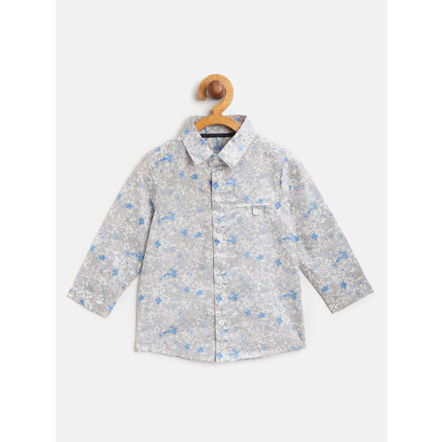 Marks & Spencer Boys White & Blue Printed Regular Fit Casual Shirt