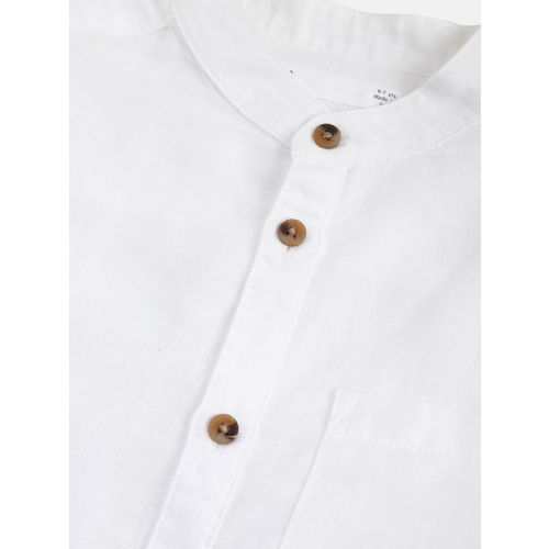 Marks & Spencer Boys White Regular Fit Solid Casual Shirt