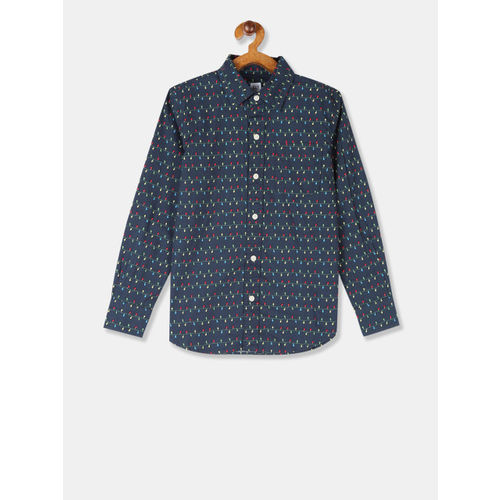 GAP Boys Navy Blue & Off-White Regular Fit Printed Casual Shirt