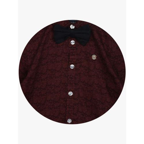 Allen Solly Junior Boys Maroon Slim Fit Printed Casual Shirt