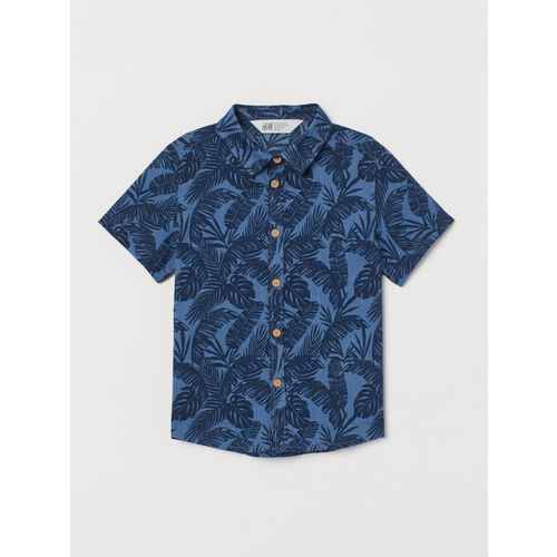 H&M Boys Blue Printed Cotton Shirt