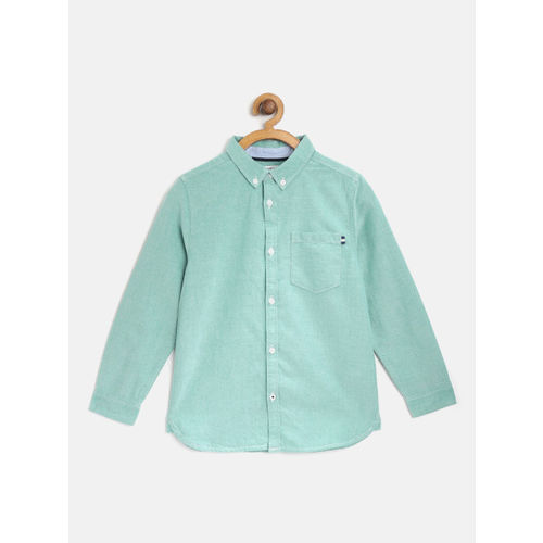 Marks & Spencer Boys Green Solid Regular Fit Casual Shirt