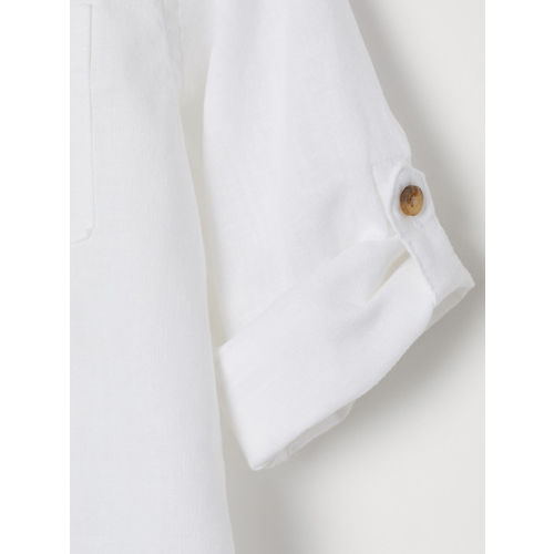 H&M Boys White Linen-Blend Shirt