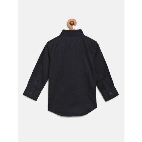 Gini and Jony Boys Navy Blue Regular Fit Solid Casual Shirt