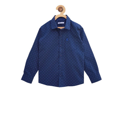 Campana Boys Navy Blue Regular Fit Printed Casual Shirt