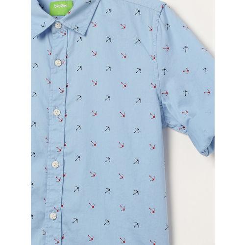 Bossini Boys Blue & Red Regular Fit Printed Casual Shirt