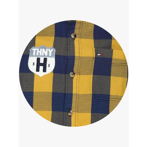 Tommy Hilfiger Boys Mustard & Navy Blue Regular Fit Printed Casual Shirt