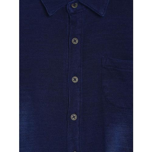 MINI KLUB Boys Blue Regular Fit Faded Casual Shirt